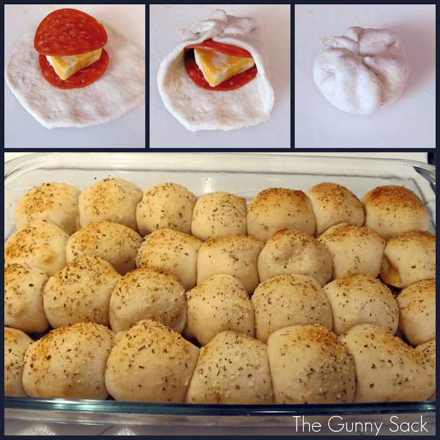 collage of photos showing steps for making pizza balls