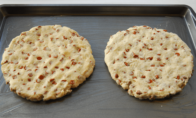 two circles of scones dough on baking sheet