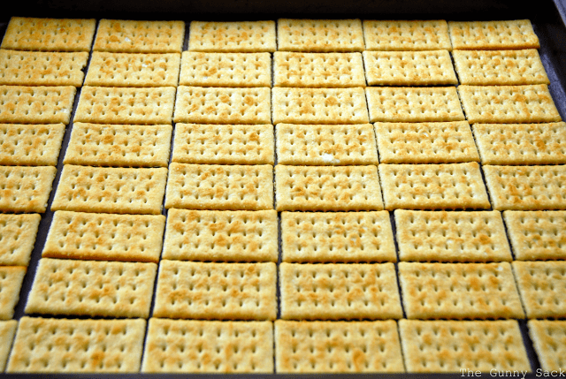 crackers lined up in baking sheet