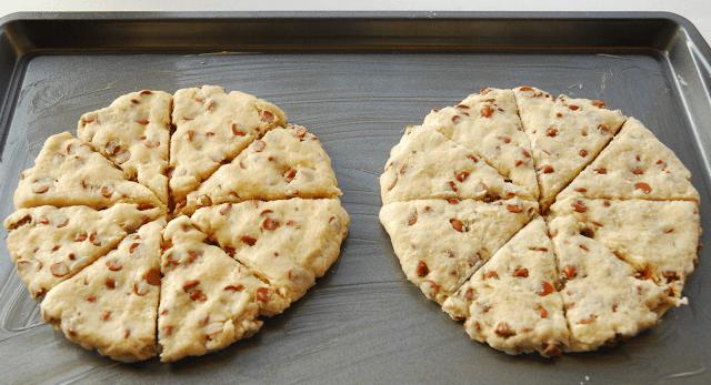 scones dough circles cut into triangles