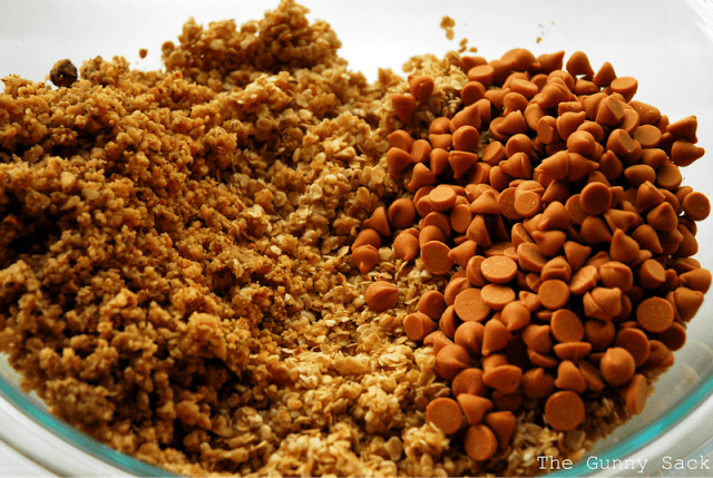 adding baking chips and nuts to dough