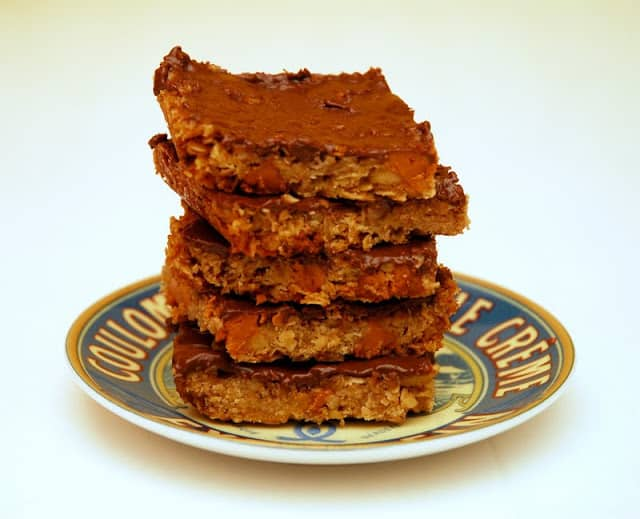 stack of oatmeal bars on plate