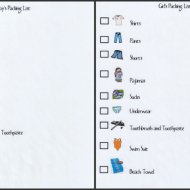 Printable Packing List For Boys and Girls