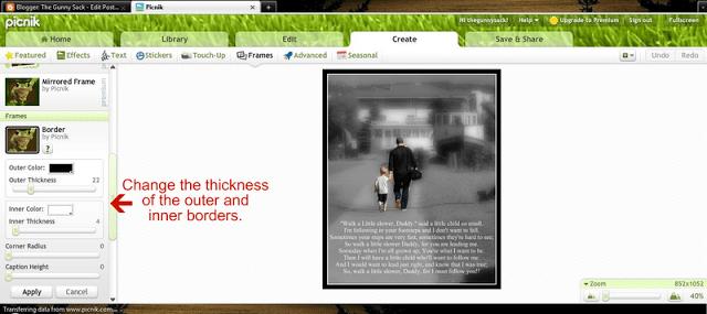 screenshot of how to change borders