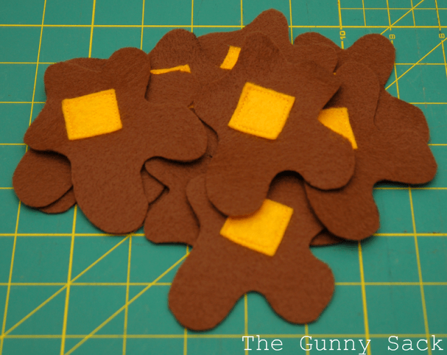 felt squares sewn on syrup blobs