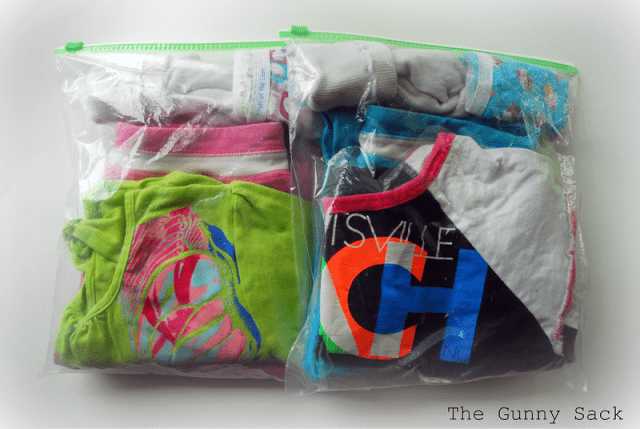 outfits in ziptop bags