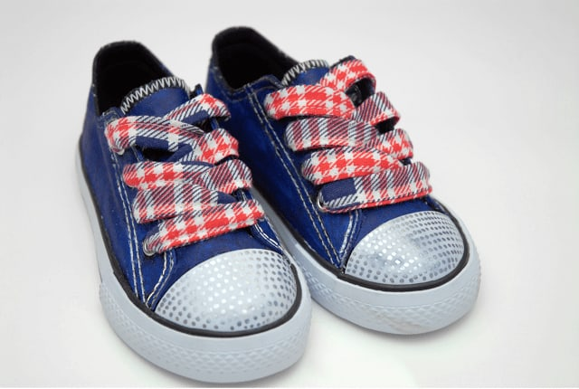 patriotic shoe laces in blue shoes
