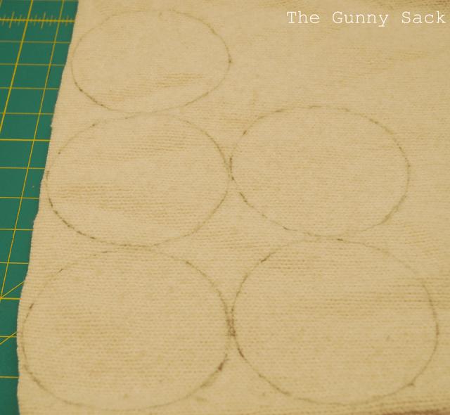 circles drawn on stuffing