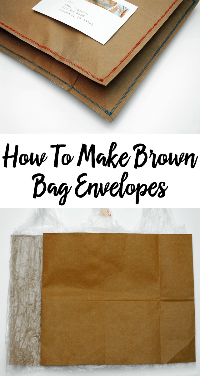 collage of pictures for how to make brown bag envelopes