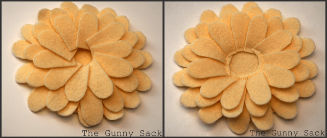 sewing on additional felt petals