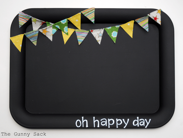 chalkboard memo board with bunting