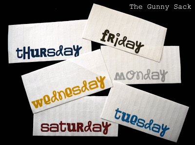 days of the week lables