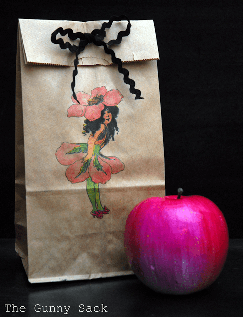 fairy printed on bag with an apple
