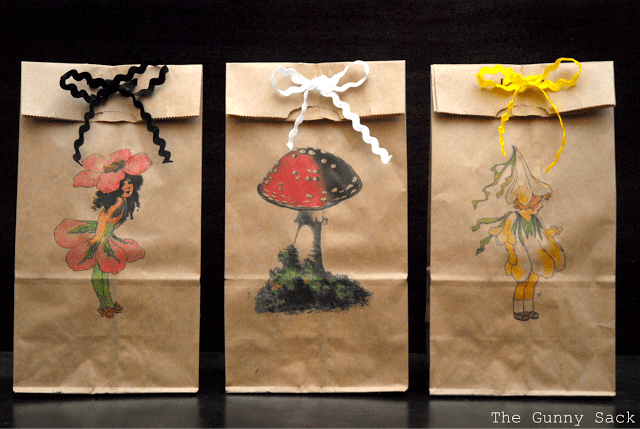 printed images on brown paper bags