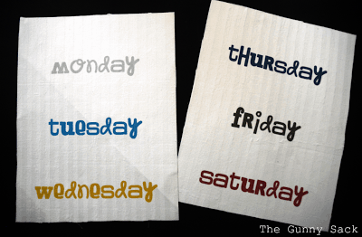 days of the week on fabric
