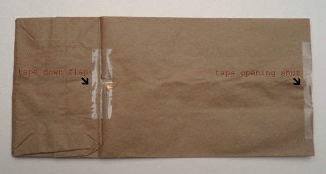 brown paper bag with taped down flap and opening taped