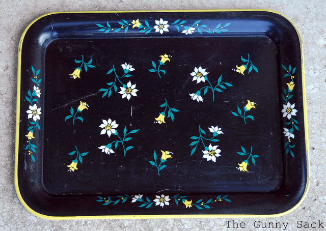 vintage metal tray with flowers