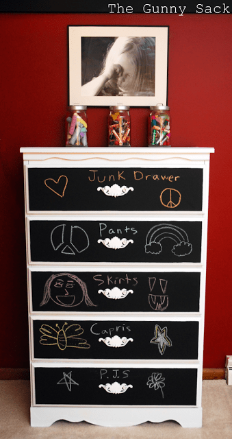 chalkboard dresser with writing on drawers