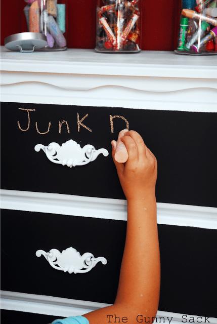 writing on chalkboard dresser drawer