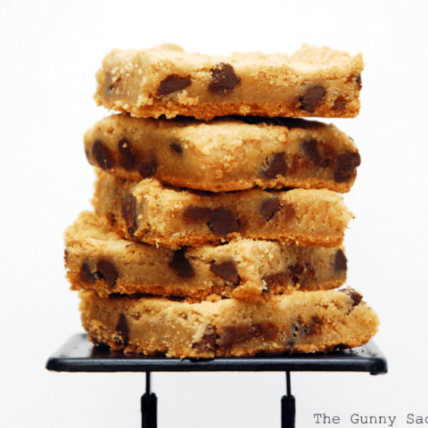 chocolate chip cookie bar slices in a stack