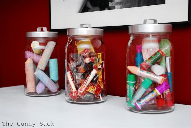 mason jar storage on dresser