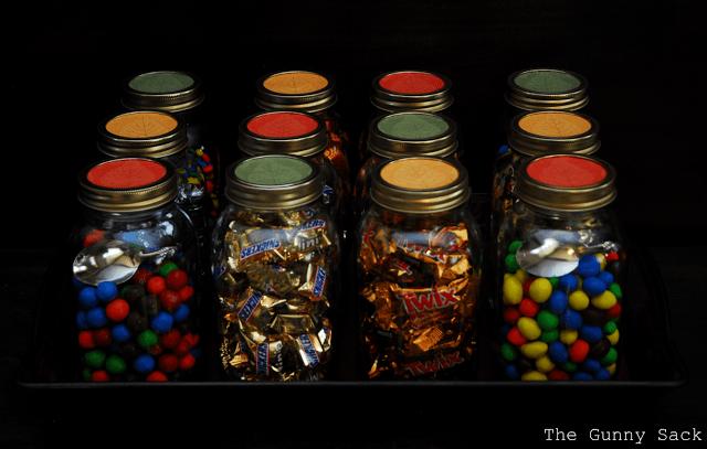 candy in mason jars
