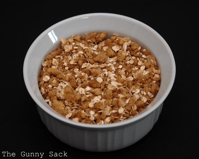 apple crisp in baking dish
