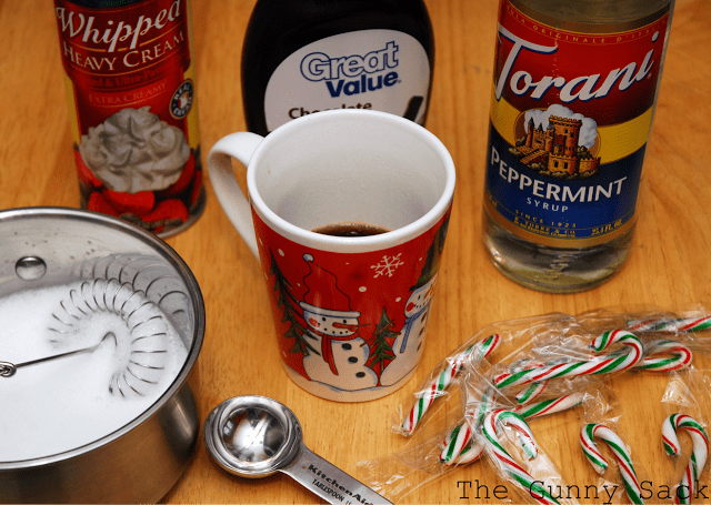 ingredients to peppermint latte