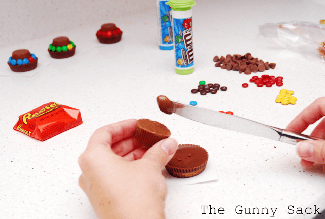 attaching peanut butter cups