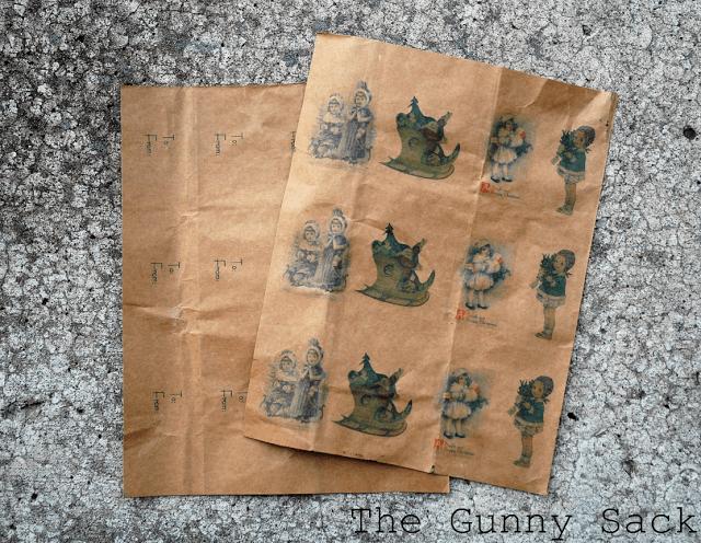 gift tags printed on brown bags