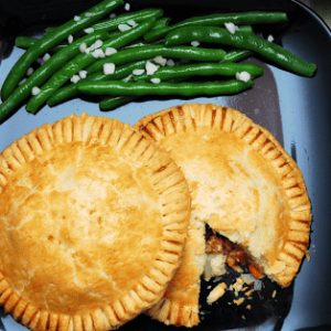 sausage pasty recipe plated with green beans