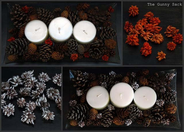candle holders with pine cones