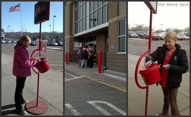 putting money in red buckets