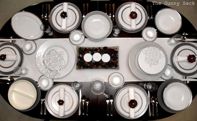 christmas tablescape from above