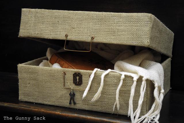 burlap suitcase
