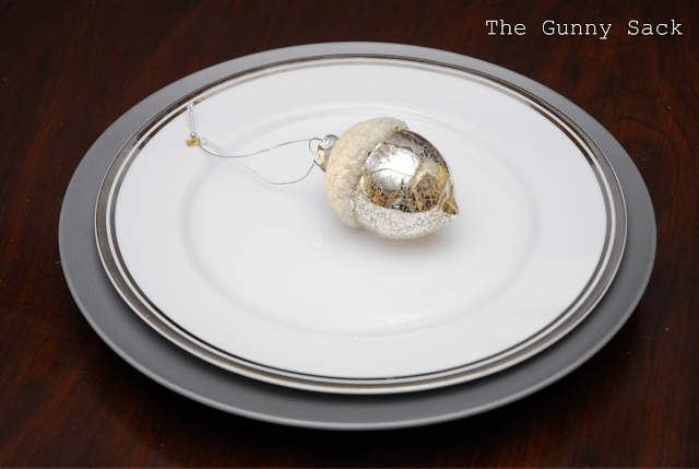 plates with a silver acorn