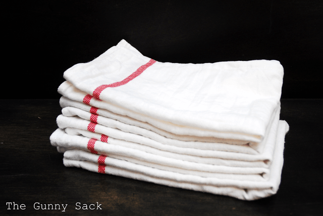 flour sack towels with red stripe