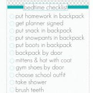 Kid's Bedtime Checklist {Free Printable} Organize Your Morning