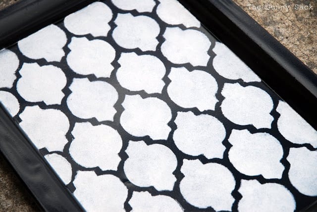 Silver Stenciled Black Tray