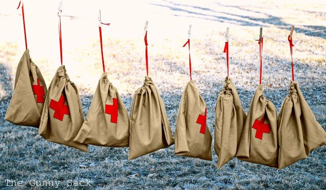 Red Cross Drawstring Bags