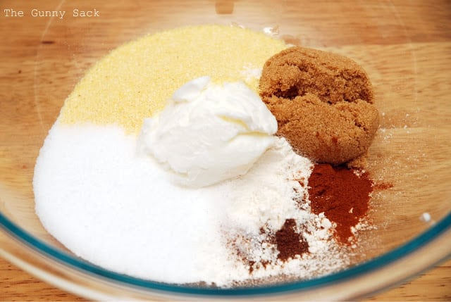 cornbread ingredients in a bowl