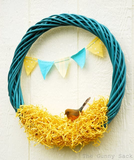 attach bunting to wreath