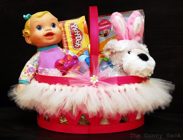 easter basket with tutu on it
