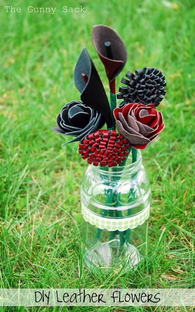 leather flowers in a jar