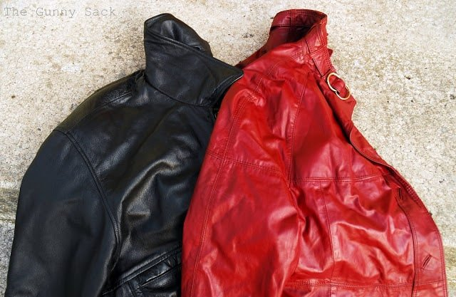 red and black leather jackets