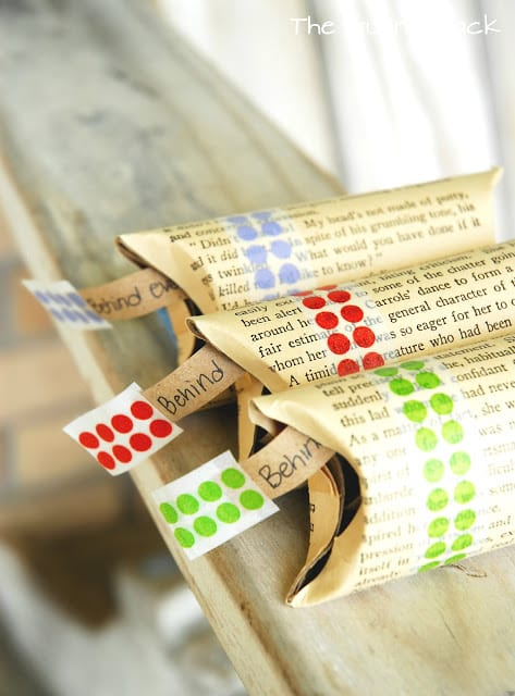 {Washi Tape} Book Page Pillow Boxes for Mother's Day Gifts