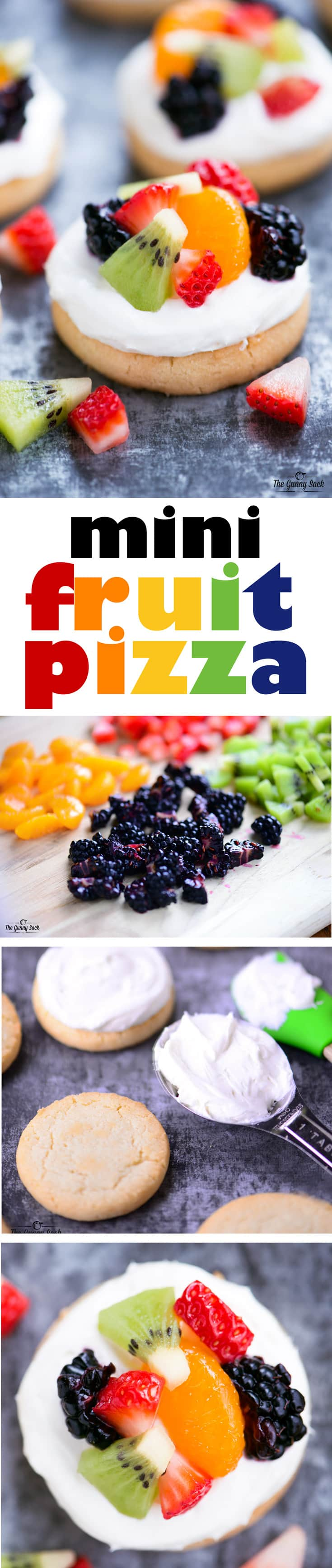 This Mini Fruit Pizza recipe is easy to make with store-bought shortbread cookies, cream cheese and cool whip frosting, and sliced fruit. This easy recipe for fruit pizza is the perfect summer dessert and less messy than the traditional fruit pizzas.