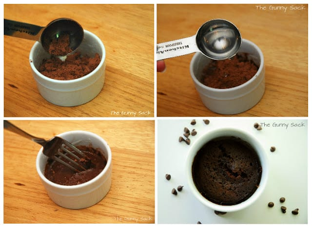 preparing the brownie in a mug