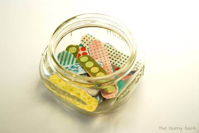 colorful bandages in a jar