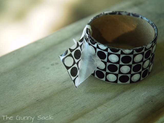 black and white washi tape on a roll